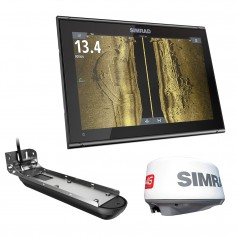 Simrad GO12 XSE Combo w-Active Imaging 3-in-1 Transom Mount Transducer- 4G Radar C-MAP Pro Chart