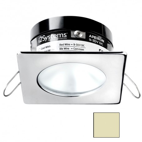 i2Systems Apeiron A503 3W Spring Mount Light - Square-Round - Warm White - Polished Chrome Finish