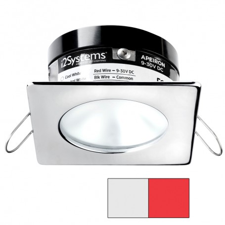 i2Systems Apeiron A503 3W Spring Mount Light - Square-Round - Cool White Red - Polished Chrome Finish