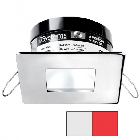 i2Systems Apeiron A503 3W Spring Mount Light - Square-Square - Cool White Red - Polished Chrome Finish