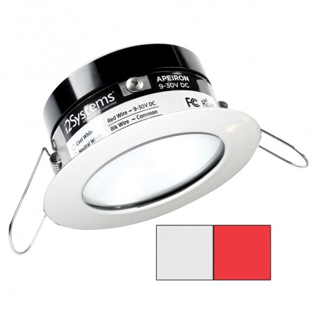 i2Systems Apeiron PRO A503 - 3W Spring Mount Light - Round - Cool White Red - White Finish