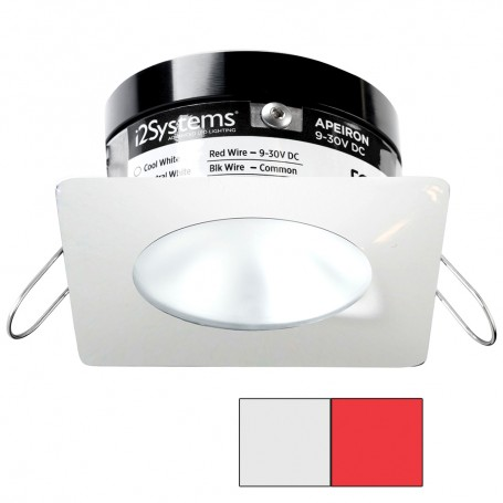 i2Systems Apeiron PRO A503 - 3W Spring Mount Light - Square-Round - Cool White Red - White Finish