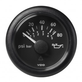 VDO Marine 2-1-16- -52MM- Viewline Oil Pressure Gauge 80 PSI-5 Bar - 8-32V - Black Dial Round Bezel