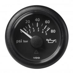 VDO Marine 2-1-16- -52MM- Viewline Oil Pressure Gauge 80 PSI-5 Bar - 8-32V - Black Dial Round Bezel