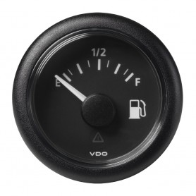 VDO Marine 2-1-16- -52MM- Viewline Fuel Level Gauge Empty-Full - 8-32V - 240-33-5 OHM - Black Dial Round Bezel