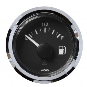 VDO Marine 2-1-16- -52MM- Viewline Fuel Level Gauge Empty-Full - 8-32V - 240 - 33-5 OHM - Black Dial Chrome Triangular