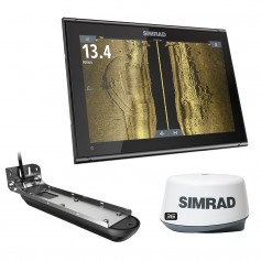 Simrad GO12 XSE Combo w-Active Imaging 3-in-1 Transom Mount Transducer- 3G Radar C-MAP Pro Chart