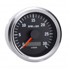 VDO Vision Chrome 3-000 RPM 3 3-8- Tachometer w-Hourmeter - 12-24V