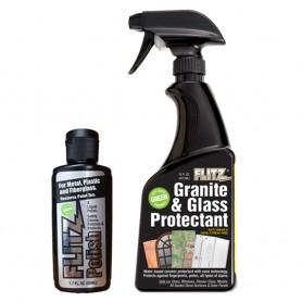 Flitz Granite Glass Protectant 16oz Spray Bottle w-1-1-7oz Liquid Polish