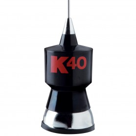 "K40 Antennas & Accessories 57.25"" CB Antenna Kit with Stainless Steel Whip, Black w/Red K40 Logo"