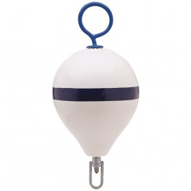 Polyform Mooring Buoy w-Iron 13-5- Diameter - White Blue Stripe