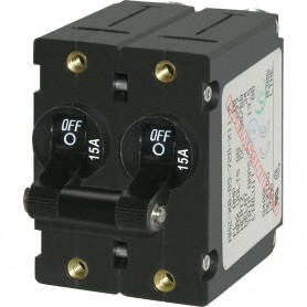 Blue Sea 7234 A-Series Double Pole Toggle - 15A - Black