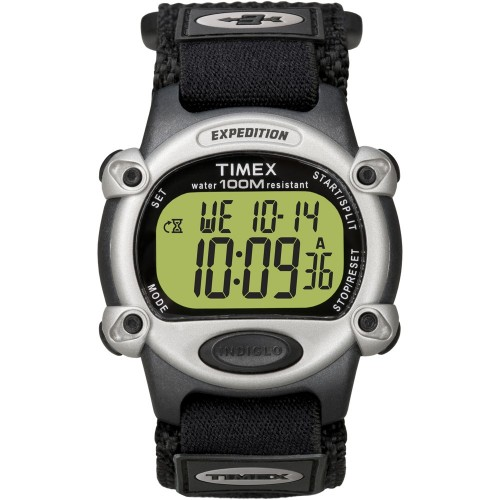 Timex Expedition Mens Chrono Alarm Timer Silver-Black