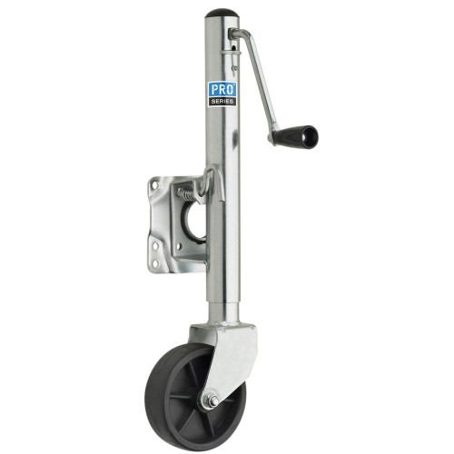 Pro Series 1000 lbs- Zinc Plated Swivel Jack w-6- Poly Wheel