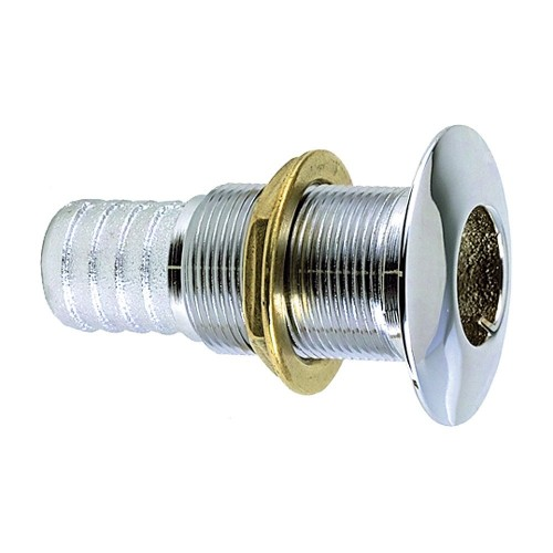 Perko 1- Thru-Hull Fitting f- Hose Chrome Plated Bronze MADE IN THE USA