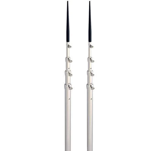 Lee-s 16-5- Bright Silver Black Spike Telescopic Poles f-Sidewinder