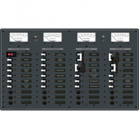 Blue Sea 8086 AC 3 Sources -12 Positions-DC Main -19 Position Toggle Circuit Breaker Panel - White Switches