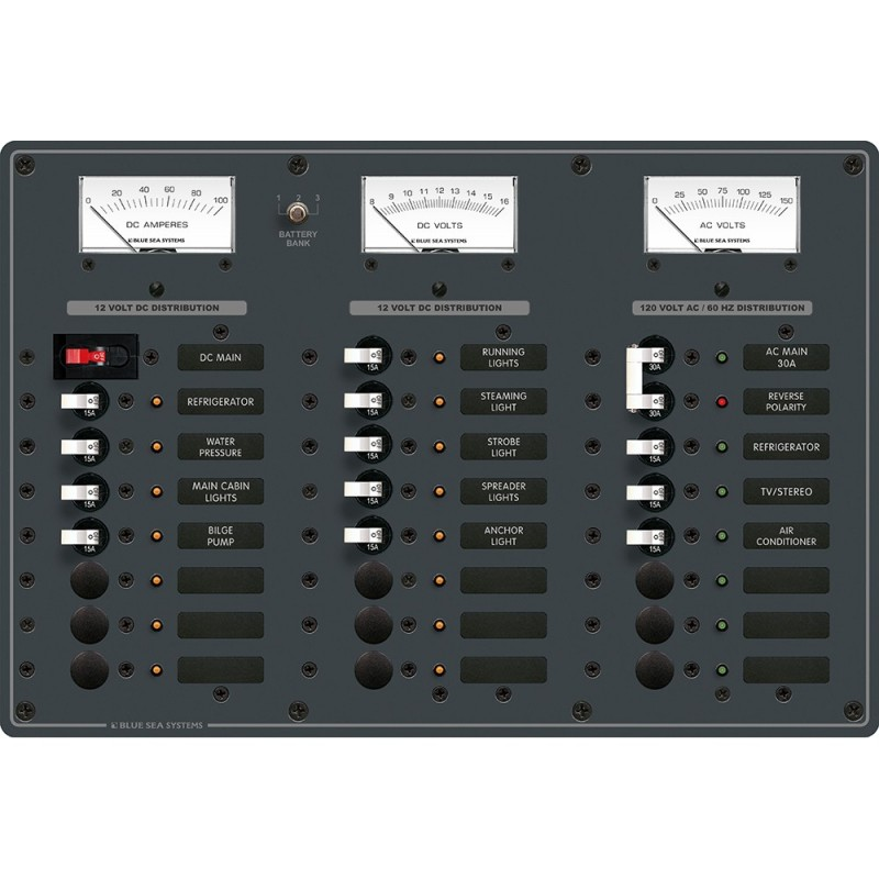 Blue Sea 8084 AC Main -6 Positions-DC Main -15 Positions Toggle Circuit Breaker Panel -White Switches-