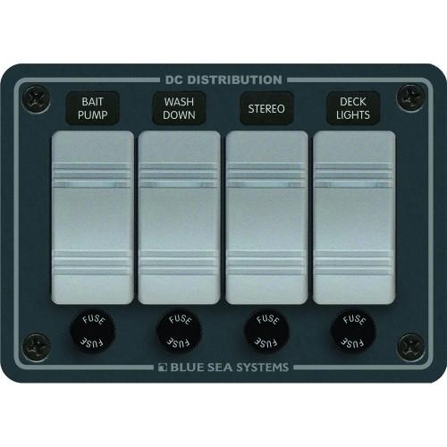 Blue Sea 8262 Waterproof Panel 4 Position - Slate Gray