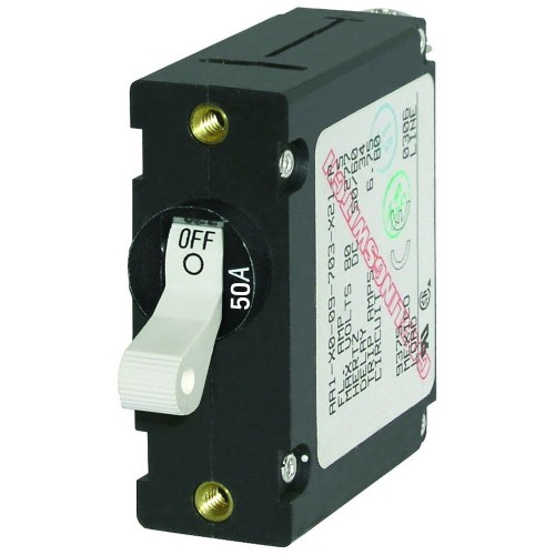 Blue Sea 7230 AC-DC Single Pole Magnetic World Circuit Breaker - 50AMP