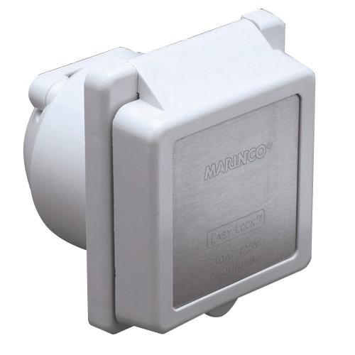 Marinco 301EL-B 30A Power Inlet - White - 125V