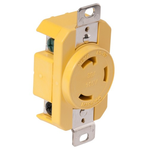 Marinco 305CRR 30A Receptacle - Yellow - 125V