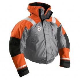 First Watch AB-1100 Flotation Bomber Jacket - Orange-Grey - X-Large