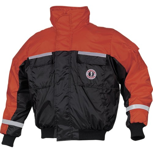 Mustang Classic Bomber Jacket w-SOLAS Tape - X-Large - Orange-Black