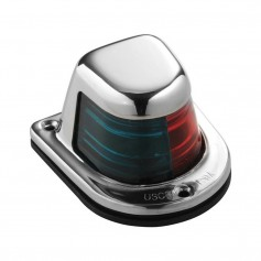 Attwood 1-Mile Deck Mount- Bi-Color Red-Green Combo Sidelight - 12V - Stainless Steel Housing