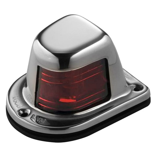 Attwood 1-Mile Deck Mount- Red Sidelight - 12V - Stainless Steel Housing