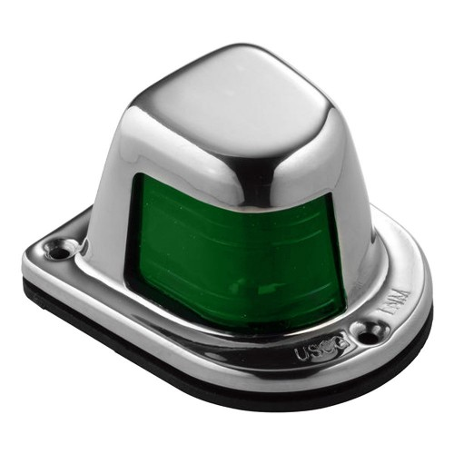 Attwood 1-Mile Deck Mount- Green Sidelight - 12V - Stainless Steel Housing