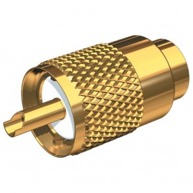 Shakespeare PL-259-58-G Gold Solder-Type Connector w-UG175 Adapter - DooDad Cable Strain Relief f-RG-58x