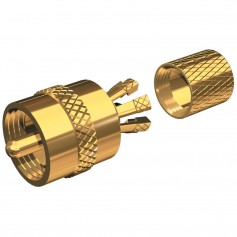 Shakespeare PL-259-CP-G - Solderless PL-259 Connector for RG-8X or RG-58-AU Coax - Gold Plated