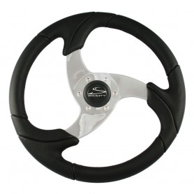 Schmitt Folletto 14-2- Black Poly Steering Wheel w- Polished Spokes and Black Cap - Fits 3-4- Tapered Shaft Helm