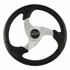 Schmitt Ongaro Folletto 14-2- Black Poly Steering Wheel w- Polished Spokes and Black Cap - Fits 3-4- Tapered Shaft Helm