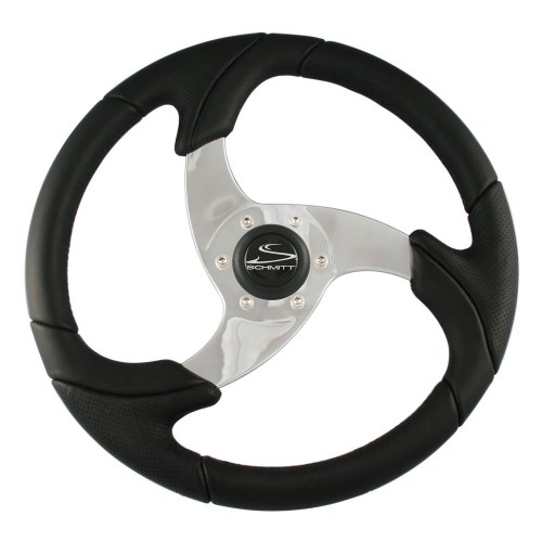 Ongaro Folletto 14-2- Black Poly Steering Wheel w- Polished Spokes and Black Cap - Fits 3-4- Tapered Shaft Helm