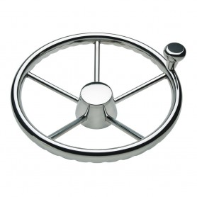 Schmitt Ongaro 170 13-5- Stainless 5-Spoke Destroyer Wheel w- Stainless Cap and FingerGrip Rim - Fits 3-4- Tapered Shaft Helm