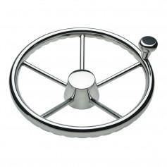 Schmitt Ongaro 170 13-5- Stainless 5-Spoke Destroyer Wheel w- Stainless Cap and FingerGrip Rim - Fits 3-4- Tapered Shaft Helm