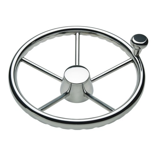 Ongaro 170 13-5- Stainless 5-Spoke Destroyer Wheel w- Stainless Cap and FingerGrip Rim - Fits 3-4- Tapered Shaft Helm