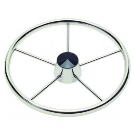 Schmitt 170 13-5- Stainless 5-Spoke Destroyer Wheel w- Black Cap and Standard Rim - Fits 3-4- Tapered Shaft Helm