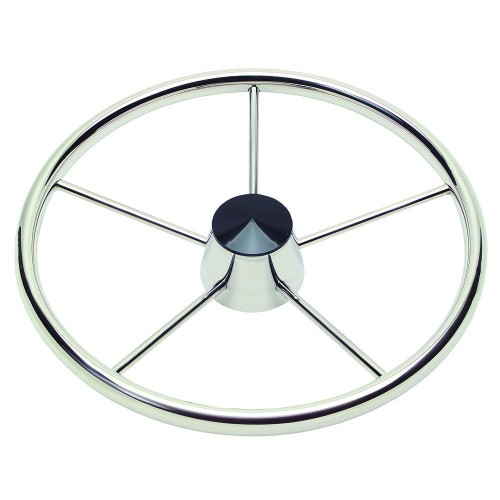 Ongaro 170 13-5- Stainless 5-Spoke Destroyer Wheel w- Black Cap and Standard Rim - Fits 3-4- Tapered Shaft Helm