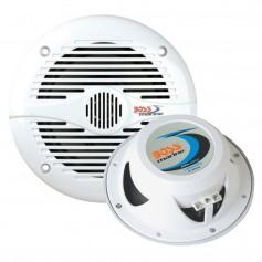 Boss Audio MR50W 5-25- Round Marine Speakers - -Pair- White