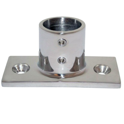 Whitecap 1- O-D- 90 Degree 2-Hole Rectangle Base SS Rail Fitting