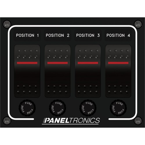 Paneltronics Waterproof Panel - DC 4-Position Illuminated Rocker Switch - Fuse