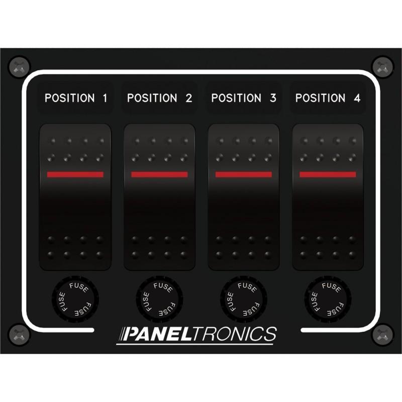 Paneltronics Waterproof Panel - DC 4-Position Illuminated Rocker Switch - Fuse