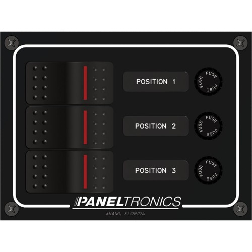 Paneltronics Waterproof Panel - DC 3-Position Illuminated Rocker Switch - Fuse