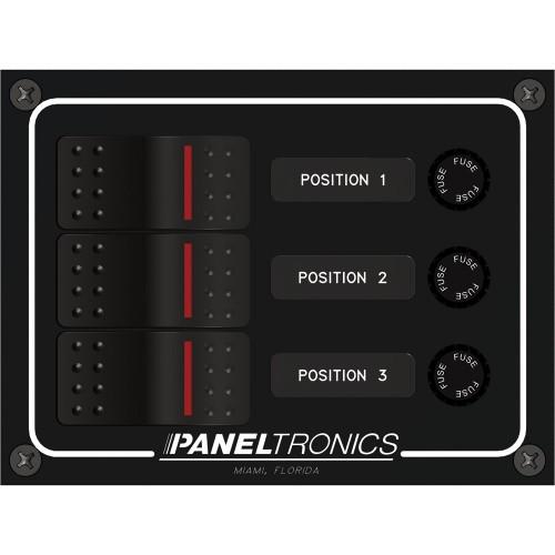 Paneltronics Waterproof Panel - DC 3-Position Illuminated Rocker Switch - Fuse
