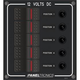 Paneltronics Waterproof Panel - DC 5-Position Illuminated Rocker Switch - Circuit Breaker