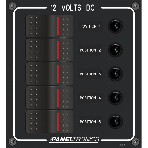 Paneltronics Waterproof Panel - DC 5-Position Illuminated Rocker Switch - Circuit Breaker
