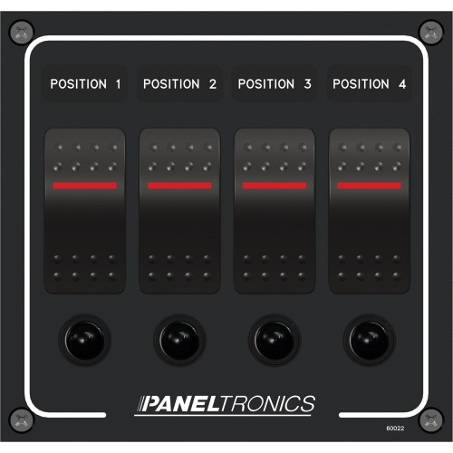 Paneltronics Waterproof Panel - DC 4-Position Illuminated Rocker Switch - Circuit Breaker